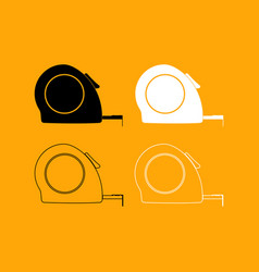 tape measure set black and white icon vector image vector image