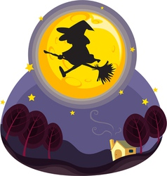 witch flying vector image vector image