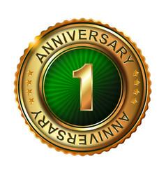1 years anniversary golden label vector image