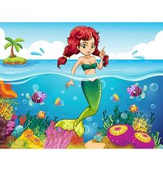 A sea with a mermaid vector