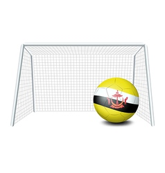 A soccer ball near the net with the Brunei flag vector image