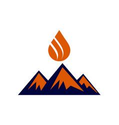 abstract mountain fire logo icon vector image