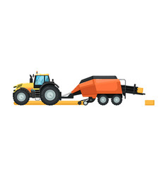 Agriculture tractor with hay baler machine vector
