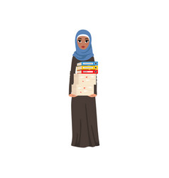 Arabic businesswoman character standing and vector