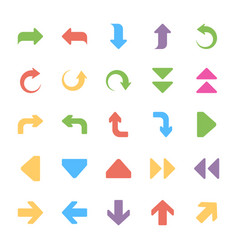arrows flat icons set vector image