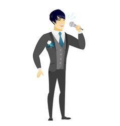 asian groom singing to the microphone vector image