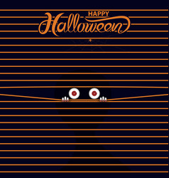 big eye peer through curtainhappy halloween vector image