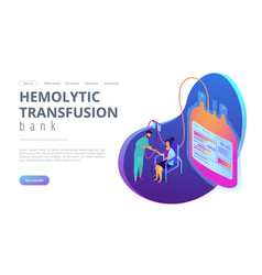 Blood donation isometric 3d landing page vector