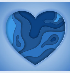 Blue paper cut heart vector