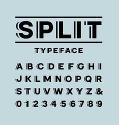 Bold font alphabet with split effect letters vector