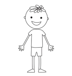 Boy in black color on the white background vector image