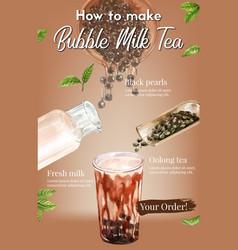 Bubble milk tea making homemade ad content modern vector