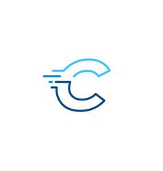 C letter dash lowercase tech digital fast quick vector