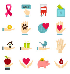 Charity set flat icons vector