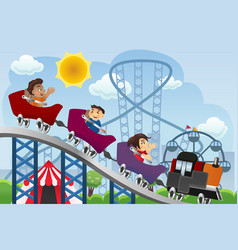 children playing in a amusement park vector image