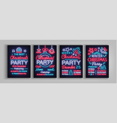 Christmas party collection of invitation templates vector