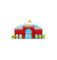 circus building with trees and flag on top vector image