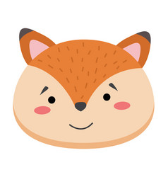 colorful cute fox face wild animal head on vector image