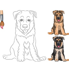Coloring Book of funny smiling Puppy Shepherd vector