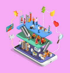 Consumers online shopping isometric composition vector