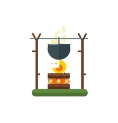 Cooking Pot On Fire vector