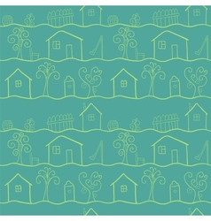 Country houses stylized seamless pattern vector image
