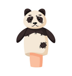Cute panda hand puppet show personage isolated vector