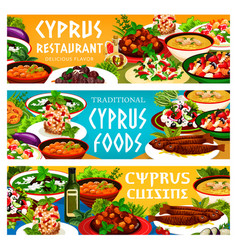 cyprus cuisine greek food dishes banner set vector image