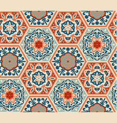 decorated patterned hexagon tiles seamless vector image