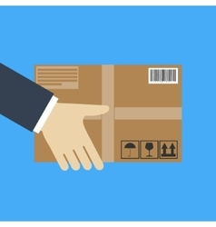 Delivery concept Hand holding package vector image