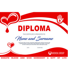 diploma for blood or plasma donation certificate vector image