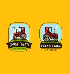 Farm tractor logo agriculture farming natural vector