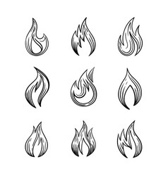 fire icons with and spurts flame set of vector image