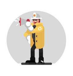 fireman speaks into a megaphone vector image