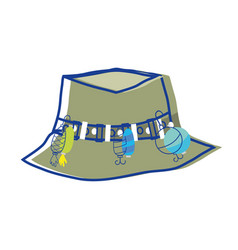 fishing peasant hat object to warker vector image