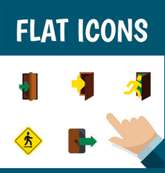 flat icon emergency set of open door entry vector image