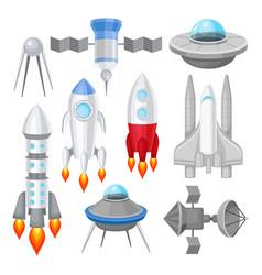 flat set of various spacecrafts rockets vector image