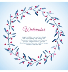 Floral wreath of blue leaves and pink berries vector