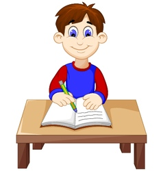 Funny Boy cartoon writing above a desk vector