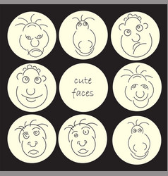 Funny humor character collection cute faces vector