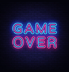 game over neon text game over neon sign vector image