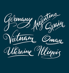 germany and argentina hand written typography vector image