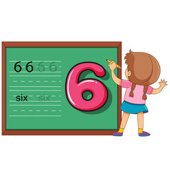 Girl on number six worksheet vector