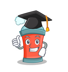 Graduation aerosol spray can character cartoon vector