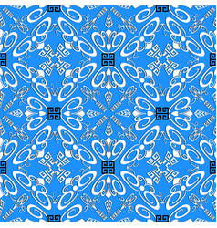 greek decorative floral seamless pattern blue vector image