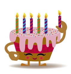 happy birthday kawaii cake vector image