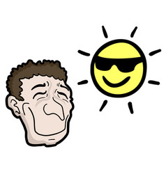 happy man and sun vector image