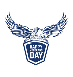 happy veterans day emblem with eagle isolated on vector image