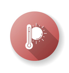 Hot weather red flat design long shadow glyph icon vector