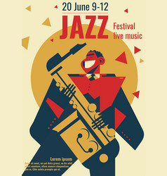Jazz music festival poster or vector